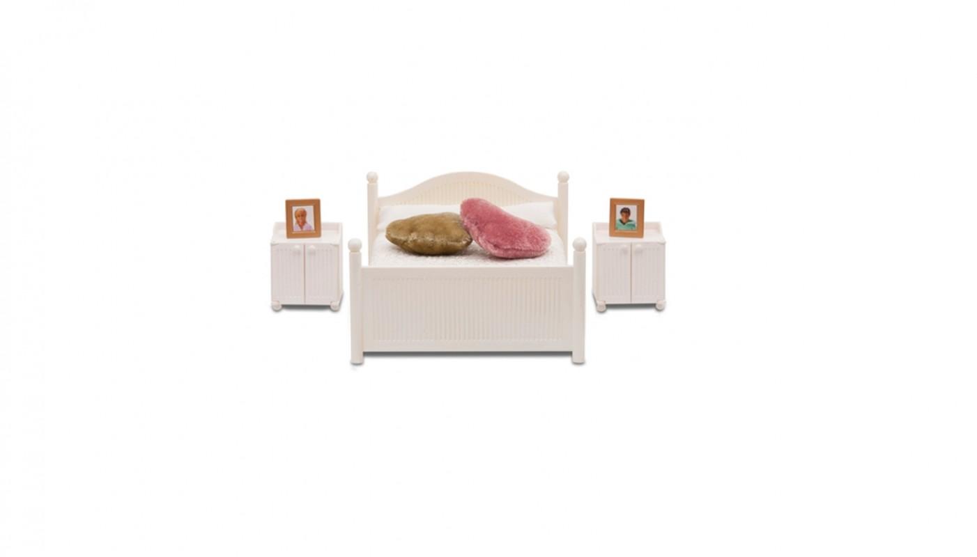 Bed met nachtkastjes 602098 lundby living gedetailleerde miniatuurmodellen speciaal voor - Bed met schaal ...