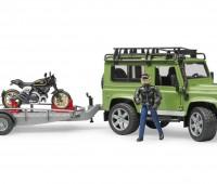 Land Rover met aanhanger en Ducati motor 1
