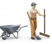 Speelfiguur Worker met kruiwagen 3
