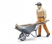 Speelfiguur Worker met kruiwagen 2
