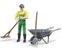 Speelfiguur Farmer met kruiwagen 2