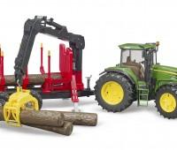 John Deere 7930 tractor en houttrailer met kraan 1