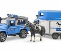 Politie speelset met Land Rover Defender, paard, trailer en politieagent 1