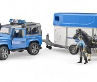 Politie speelset met Land Rover Defender, paard, trailer en politieagent 2