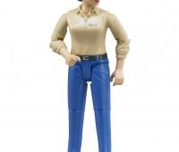 Vrouw met blauwe broek en beige polo 1