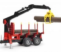 Oplegger voor houttransport met kraan  1