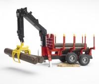 Oplegger voor houttransport met kraan  2