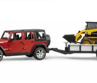 Jeep met aanhanger en CAT minishovel 1