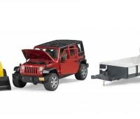 Jeep met aanhanger en CAT minishovel 3