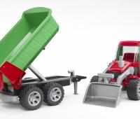Tractor met voorlader en kipper aanhanger 2