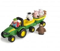 John Deere tractor met boer en dieren 1