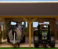 Houten schuur voor 2 tractoren  1