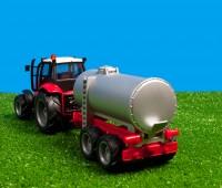 Set van rode tractor met giertank 1