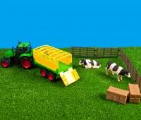 Set van tractor met veewagen en accessoires  1