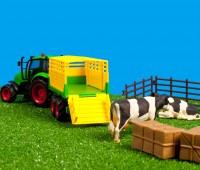 Set van tractor met veewagen en accessoires  2
