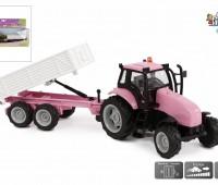 Roze tractor met aanhanger  1
