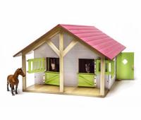 Paardenstal met berging en 2 boxen - wit/roze 2