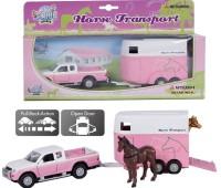 Mitsubishi met roze trailer en paarden 2