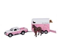 Mitsubishi met roze trailer en paarden 1