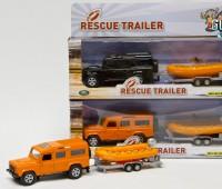 Oranje Landrover Defender met reddingsboot en trailer 1