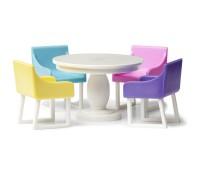 Eetkamerset met gekleurde stoelen  1