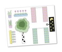 Lundby Creative - Stickerset Gordijnen en bloemen 1