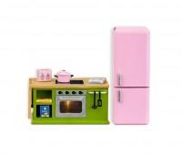 Keuken met keukenblok en koelkast 1