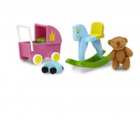 Speelgoedset met poppenwagen en beer 1