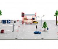 Set met grondplaten, accessoires en 3 autos 1