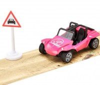 Roze buggy met tape en bord 2