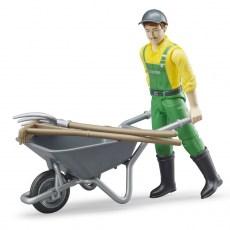 Speelfiguur Farmer met kruiwagen