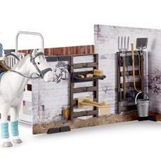 Paardenstal met paard, ruiter en accessoires
