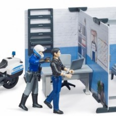 Politiestation met politiemotor