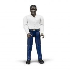 Man met blauwe broek en wit shirt