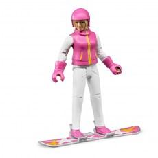 Vrouw op snowboard