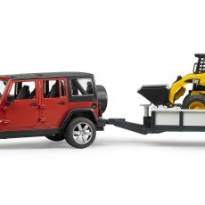 Jeep met aanhanger en CAT minishovel