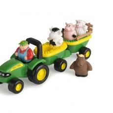 John Deere tractor met boer en dieren