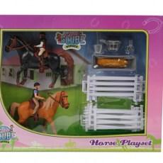 Paarden speelset met twee ruiters