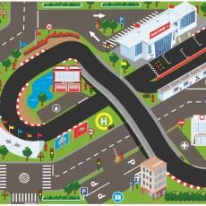 Racetrack speelkleed met werkende verkeerslichten