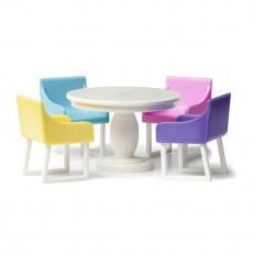 Eetkamerset met gekleurde stoelen