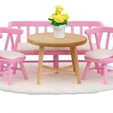 Eettafel met stoelen en bankje