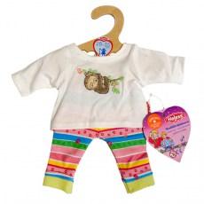 Gekleurd broekje en wit shirtje met luiaard voor een pop