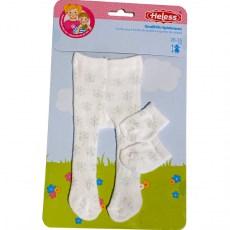 Witte maillot en sokjes met zilverkleurige accenten voor een pop