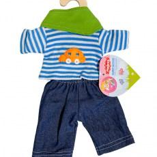 Blauw broekje en gestreept shirtje voor een pop