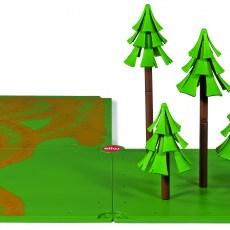 Siku grondplaten met zandpaden en bos