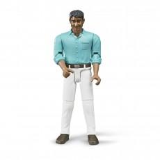 Man met witte broek en blauw shirt