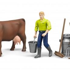 Koe en boer met melkset