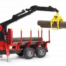 Oplegger voor houttransport met kraan