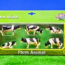 Set van 6 zwartbonte koeien