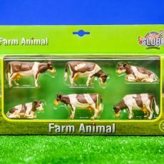 Set van 6 roodbonte koeien